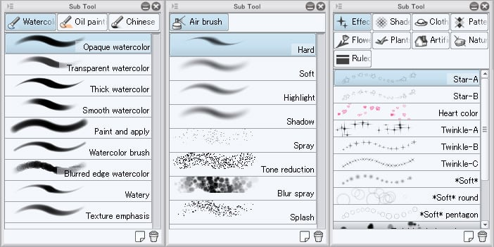 With various brushes, you can create every sort of digital arts.