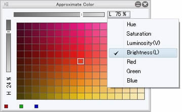 Approximate color palette that allows you to select a similar color by specifying the conditions like hue, saturation, luminance and value