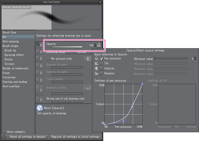 how to change stability in clip paint studio