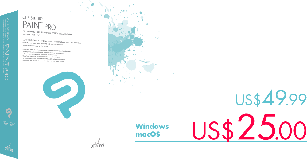 Our professional version CLIP STUDIO PAINT PRO is fully equipped with all the features necessary for manga and illustrations, now available for US$25.00.