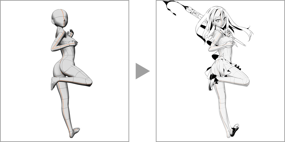 Draw difficult poses with 3D models
