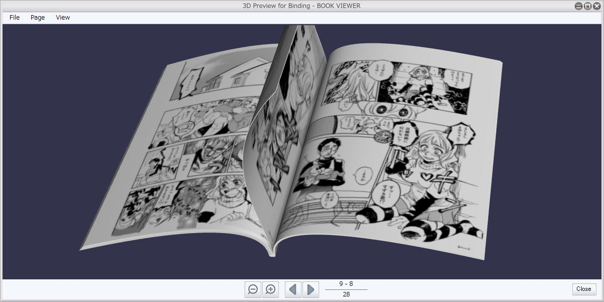 See a 3D preview of your bound comic or manga