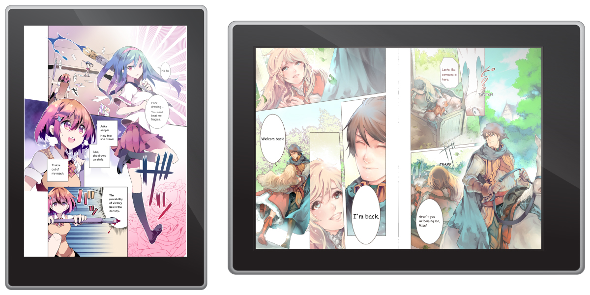 Read your comic or manga on tablets and smartphones as an e-book