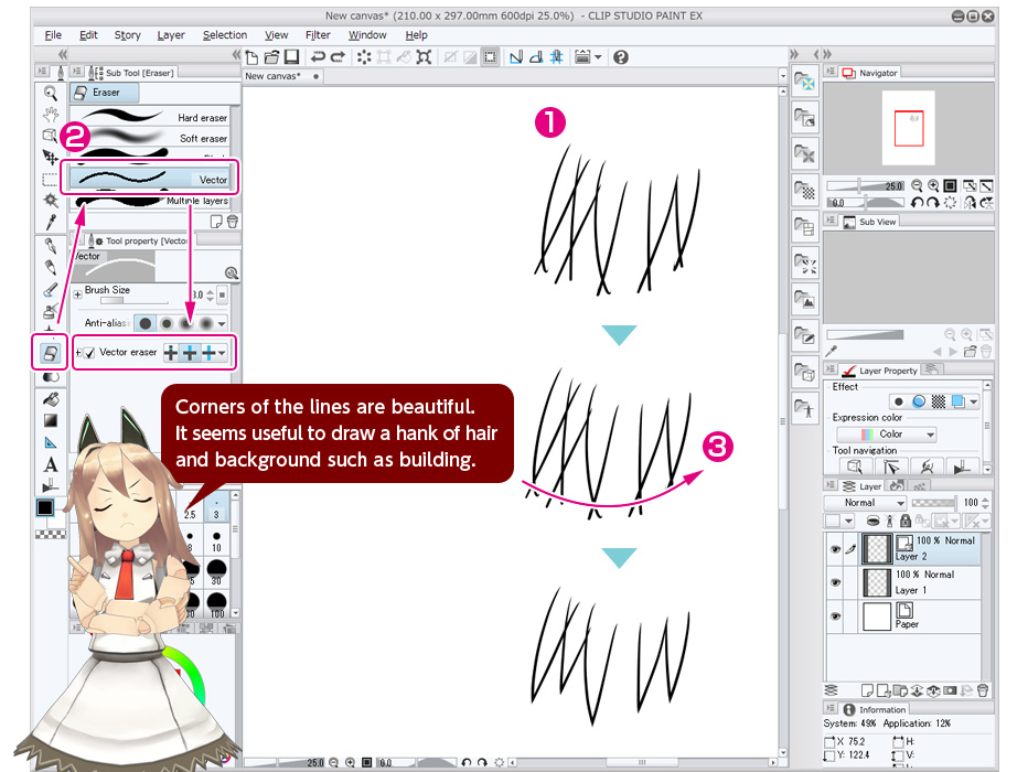 Drawing Lines With Pen Tool Photo : Use vector eraser trial tour clip studio