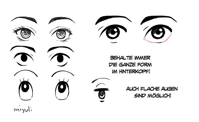 Verschiedenste Augen Und Ihre Positionen Richtig Zeichnen Art Rocket