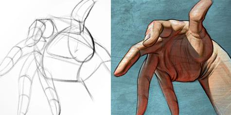 ¡Dibuja manos expresivas usando tu imaginación!
