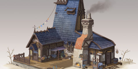Making the Most of 3D Models and Perspective to Create a Fantasy Blacksmith Workshop