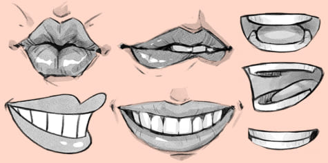 How to draw mouths and lips