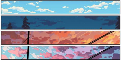 다양한 날씨와 시간에 하늘 그리기